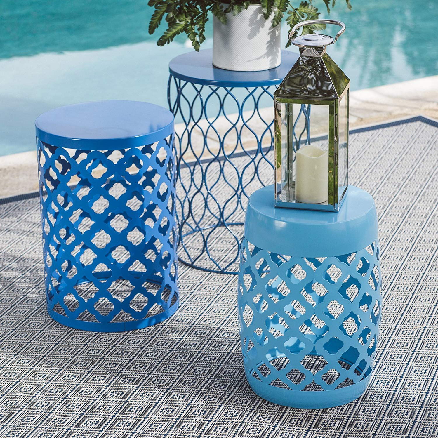 blue geometric set outdoor metal round accent table tables garden stools patio yellow umbrella side concrete dining room vintage french white retro furniture plastic target