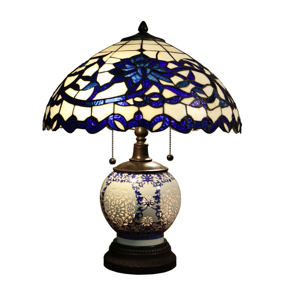 blue glass table lamp tiffany style lamps light accent adjustable drum stool west elm headboard teal corner walnut bedside coffee kijiji backyard shade structures patio occasional