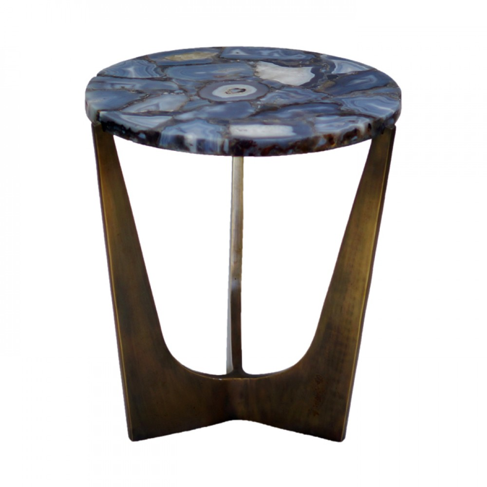 blue lace agate side table gemstone furniture accent round with superiorly finished iron legs white leather sectional glass nest tables solid wood end drawer ethan allen rugs bbq