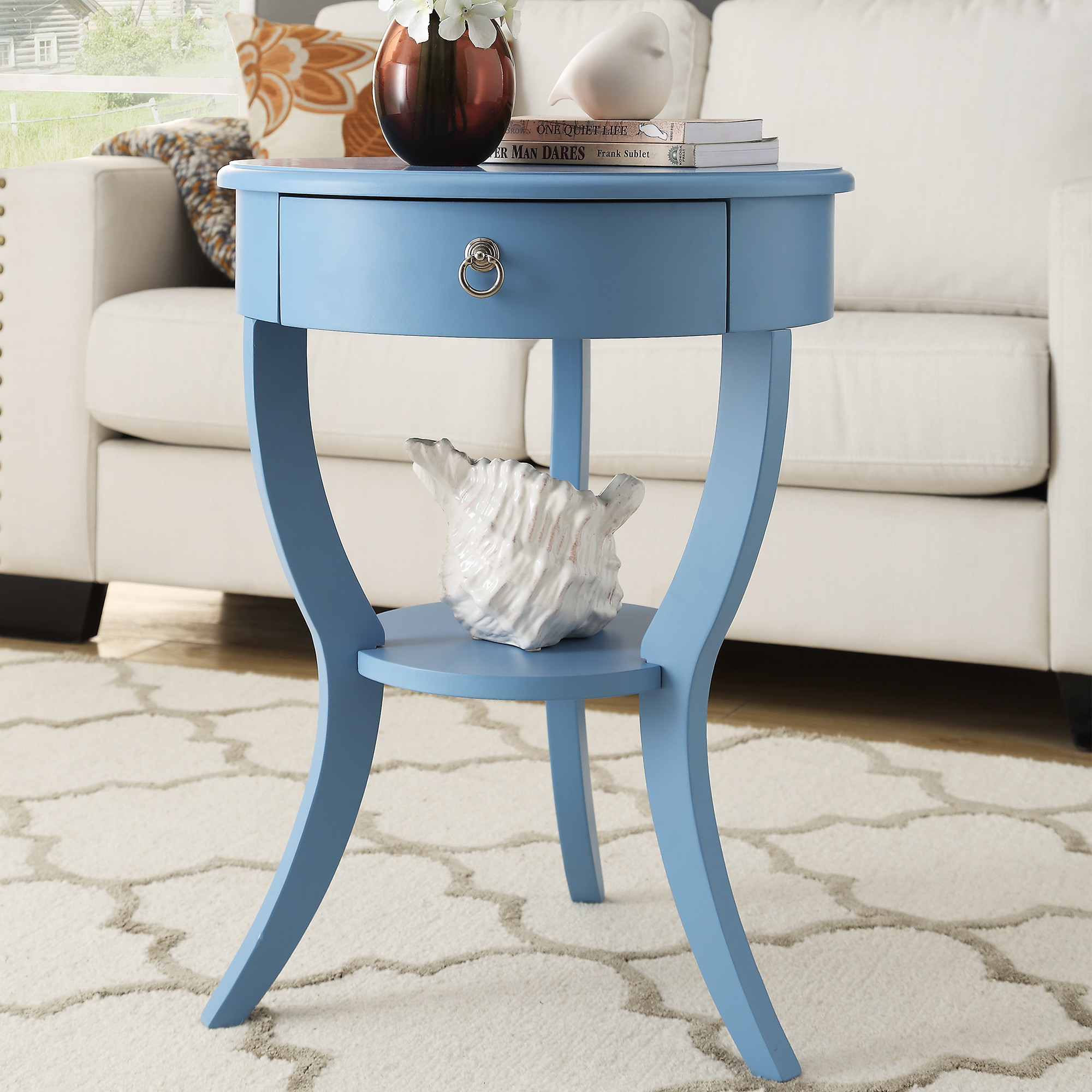blue small round end table drawer with wood glides french dovetailed construction tripod legs solid material contemporary accent full size tables chairs ashley home furniture