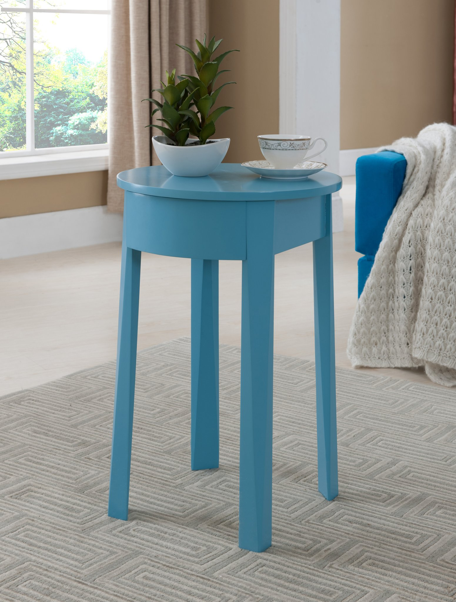blue wood kids accent storage side table with drawer pilaster designs teal end big lots rugs rustic modern coffee cottage kitchen gold living room set square glass top target