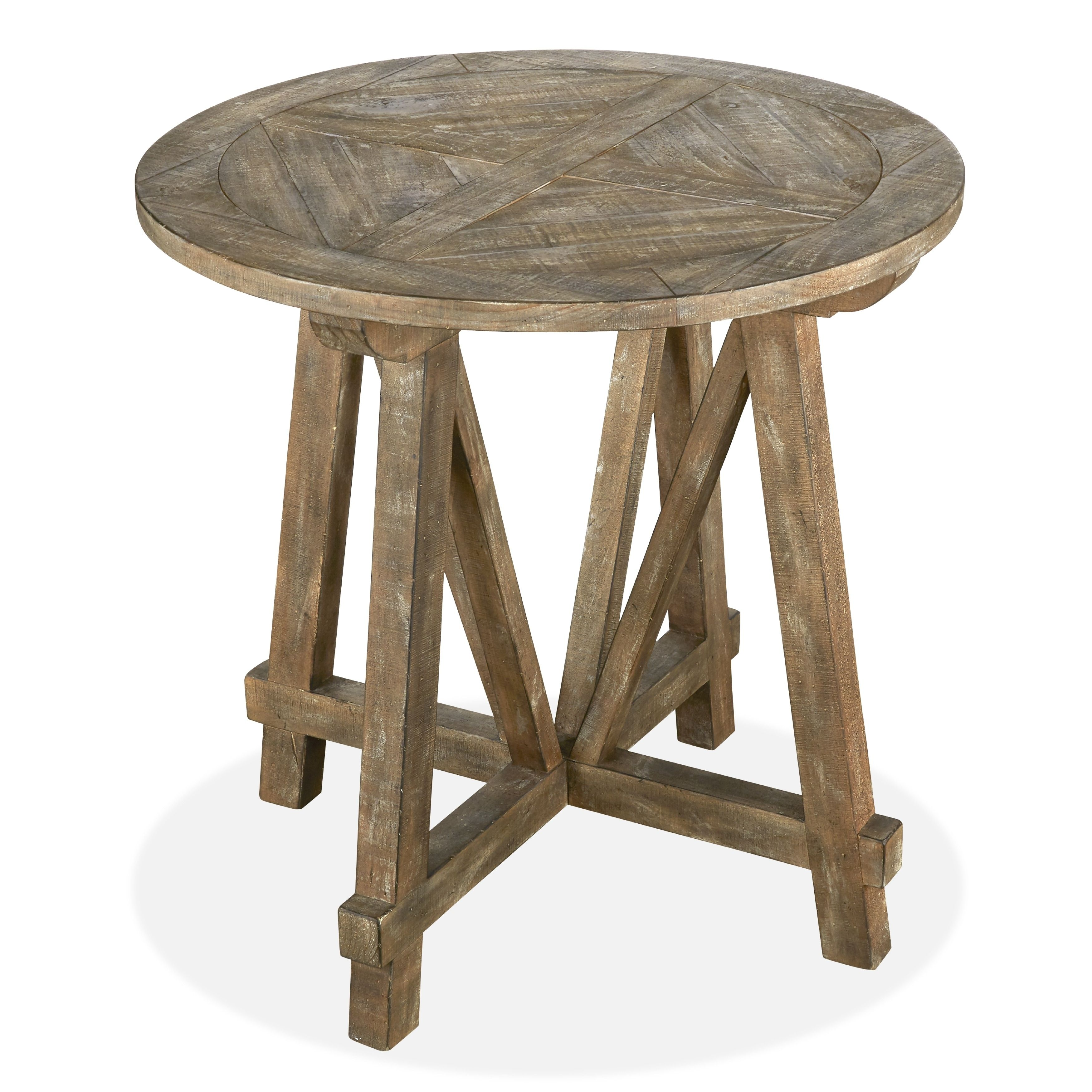 bluff heights rustic weathered nutmeg round accent table tall bistro hairpin leg bar stools living spaces furniture wine rack inch tablecloth navy blue dining room names wall