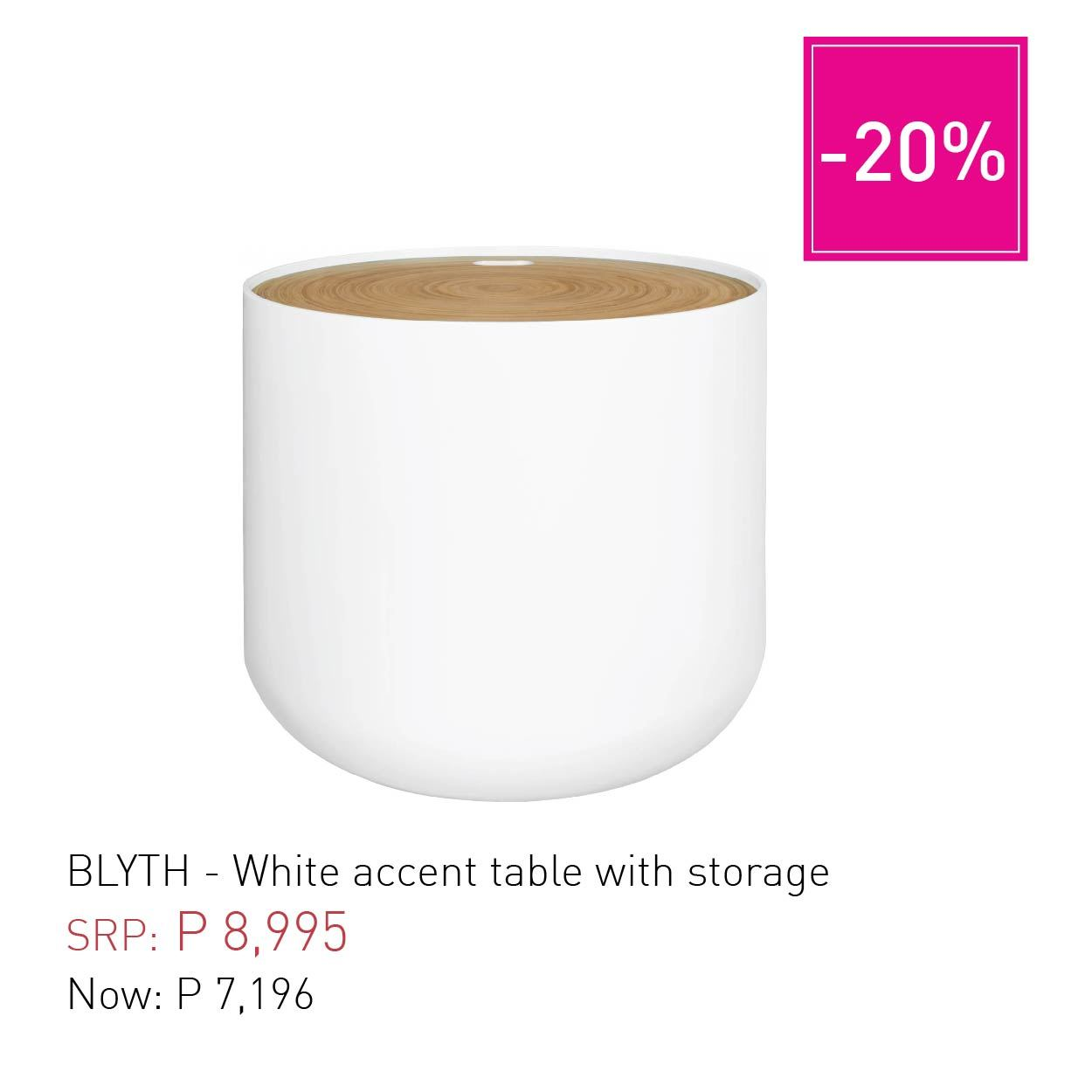 blyth white accent table with storage habitat manila childrens lamps ikea bedroom side tables target room essentials cordless lights small entryway console round lucite concrete
