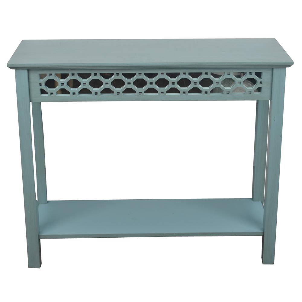 bohemian accent tables living room furniture the antique iced blue finish decor therapy console round table skirts mirrored narrow farmhouse dining outdoor side kmart slim hallway
