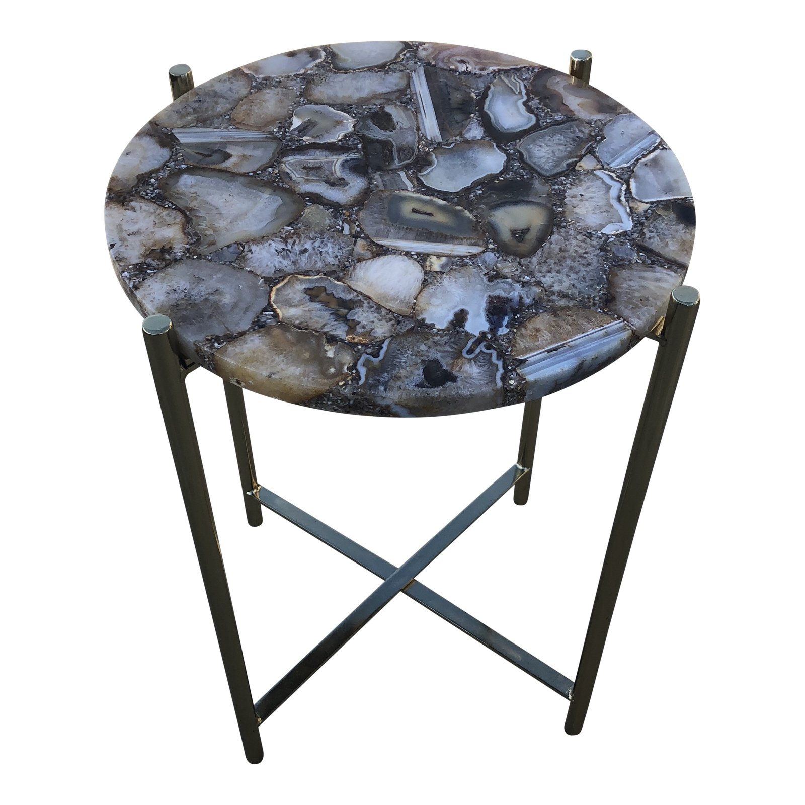 boho chic tan agate side table chairish glass accent basic coffee parsons end outdoor bunnings black round target white linens metal bedroom tables and chairs with charging
