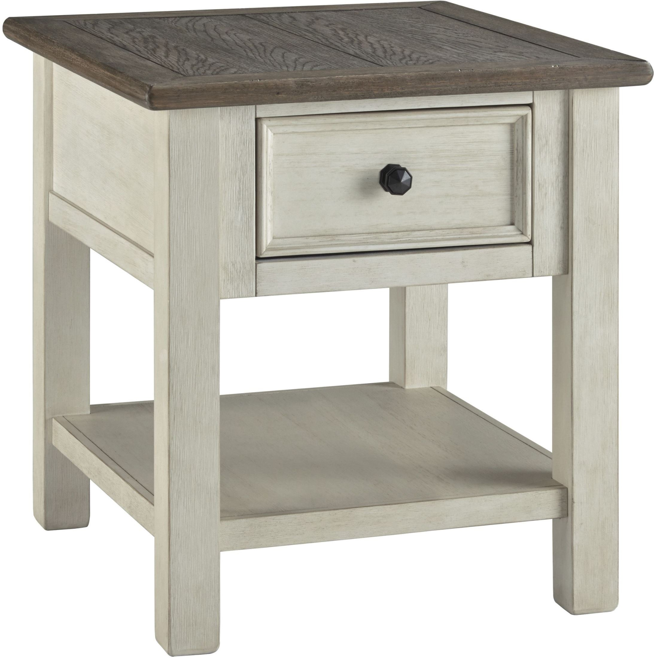 bolanburg weathered gray rectangular end table from ashley mirrored threshold fretwork accent teal wash bar height legs solid wood coffee with drawers wrought iron furniture