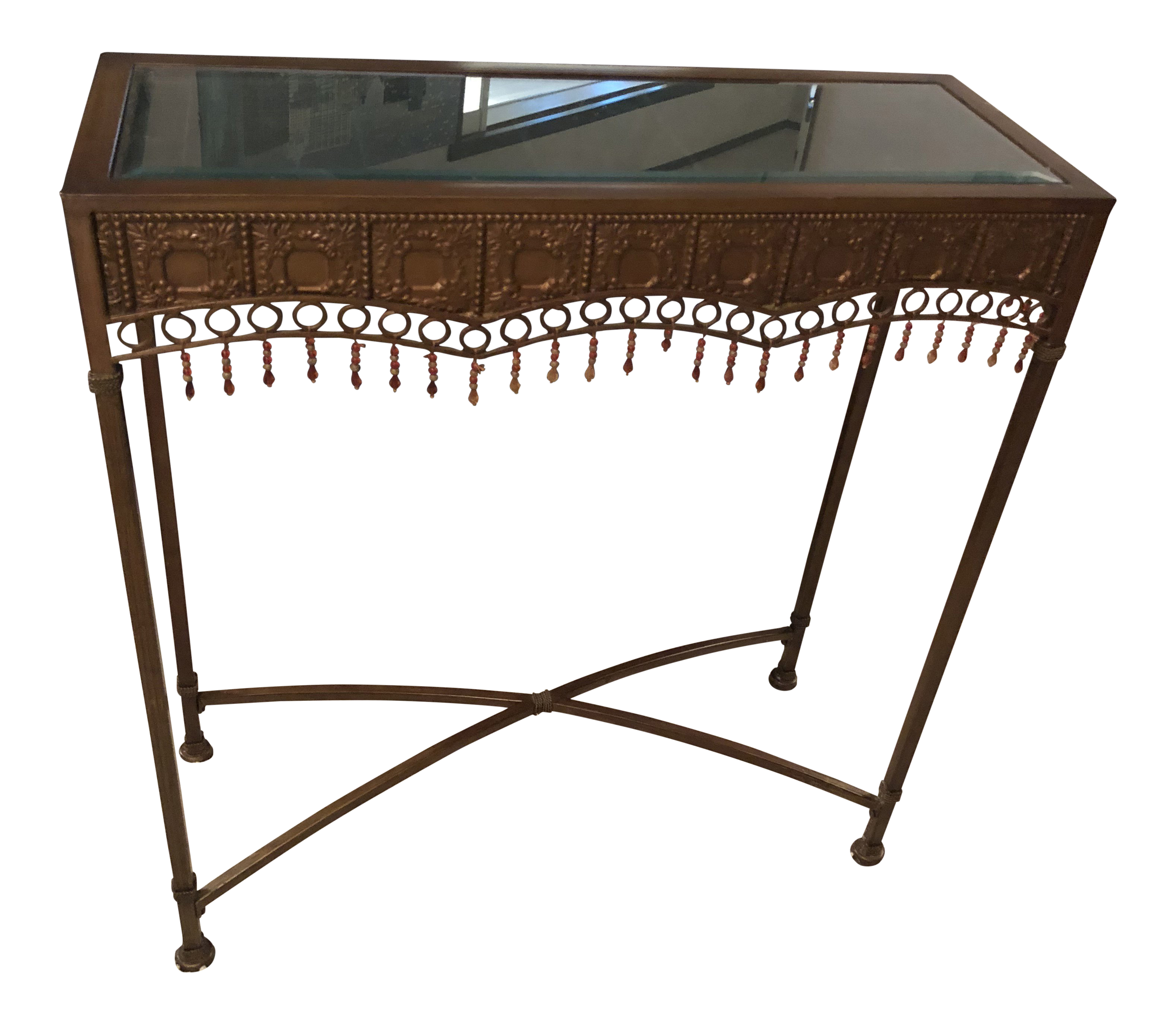 bombay bohemian hammered bronze copper metal accent table chairish high huge wall clock white oval coffee rustic wood and end tables small triangular side changing mattress pier