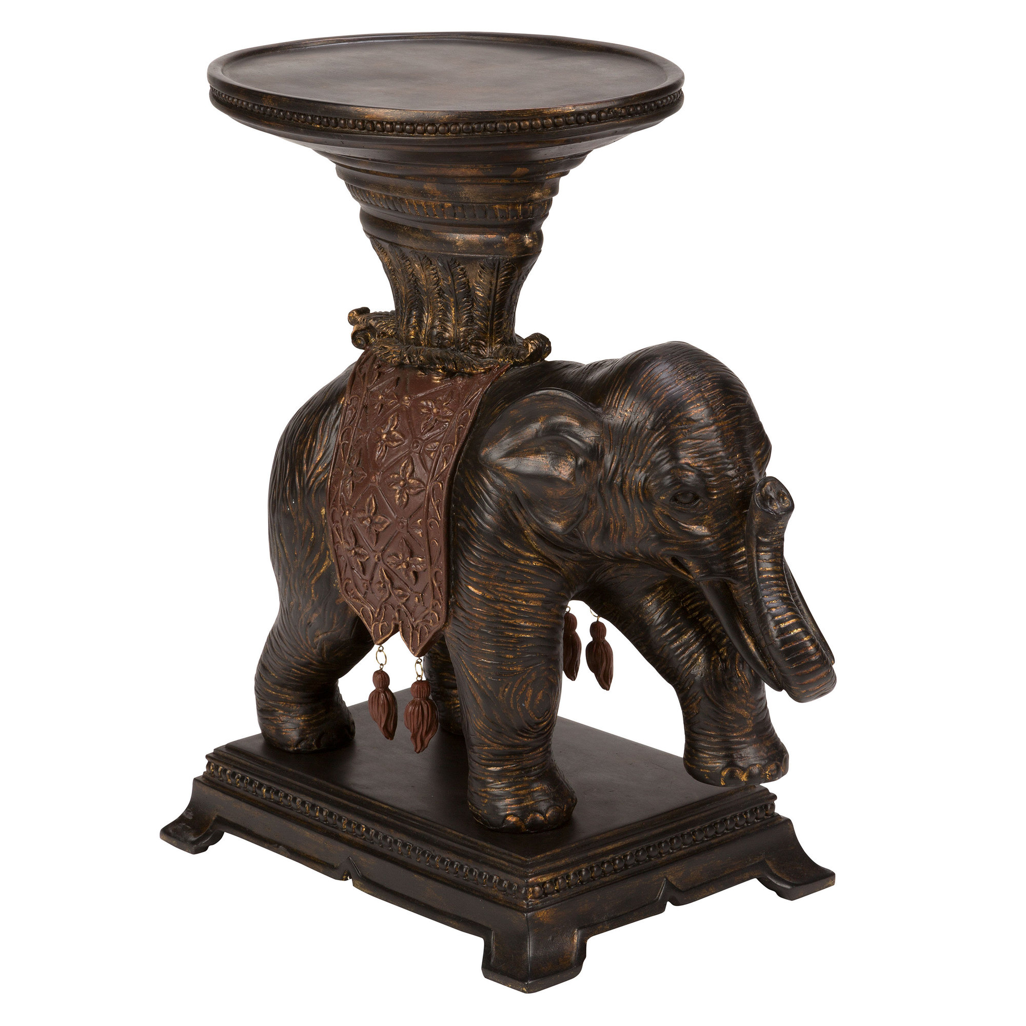 bombay elephant end table accent with drawers hand painted wood green tiffany lamp shade west elm parsons coffee black acrylic side glass top brass base furniture wellington patio