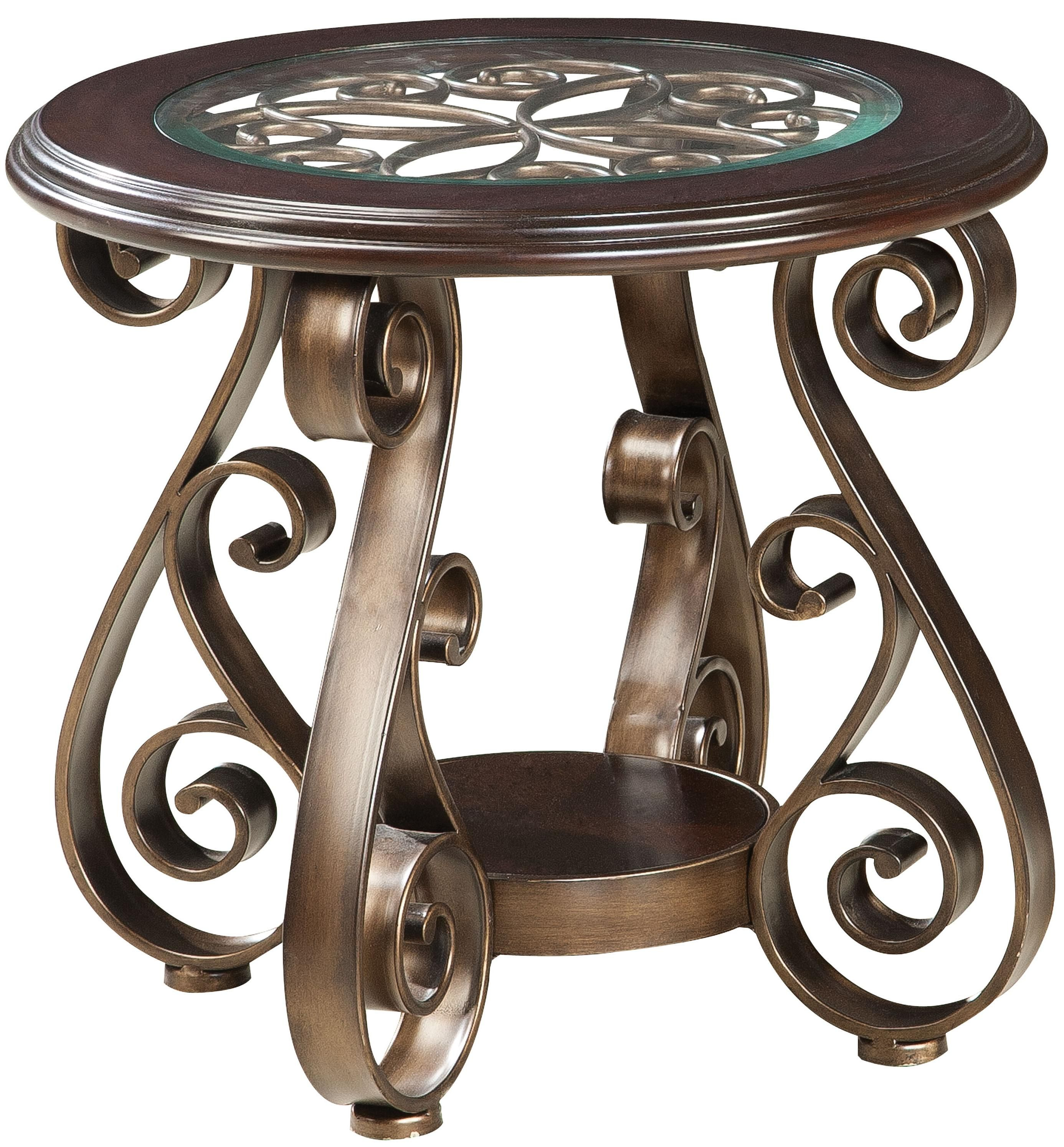 bombay old world end table with glass top and scroll legs company marble accent standard furniture great american home memphis southaven round nightstand tablecloth acrylic side