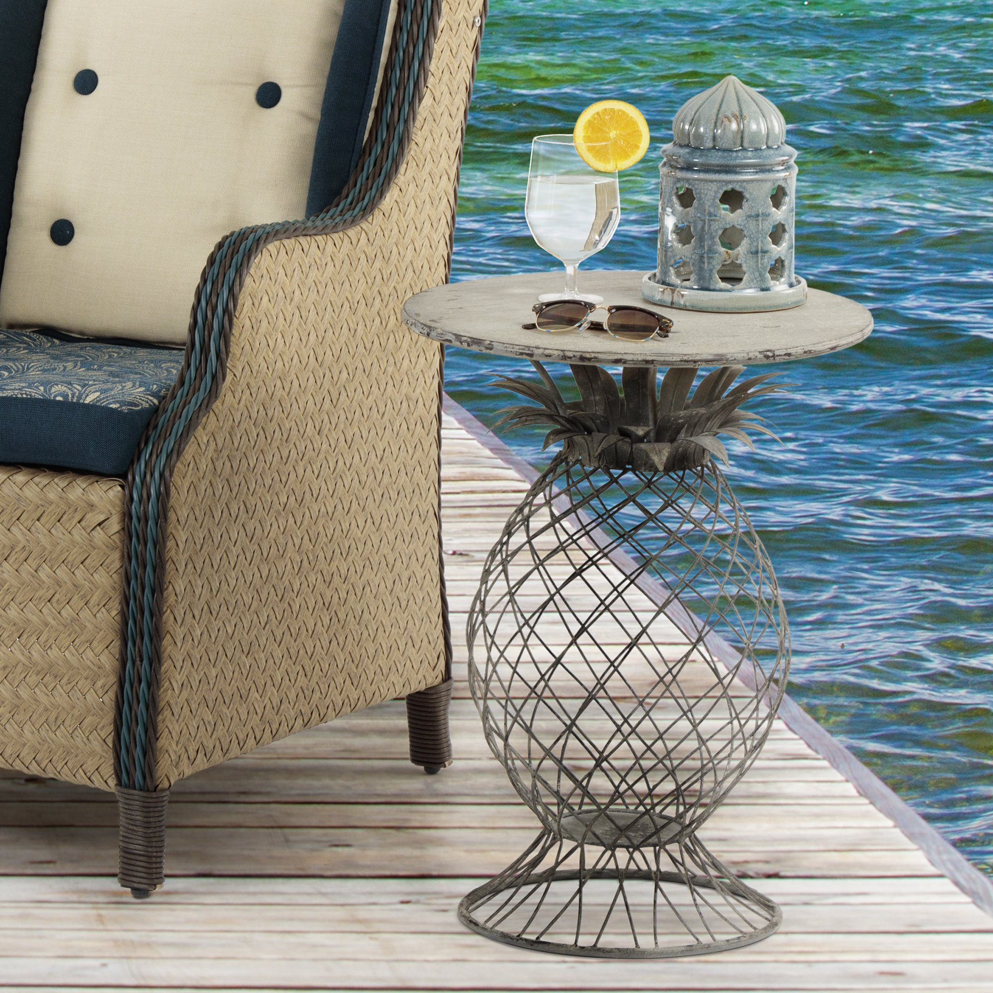 bombay outdoors kailua pineapple table free shipping today umbrella accent glass top entry dark brown rattan coffee outdoor dining set best drum throne with backrest ikea shelf