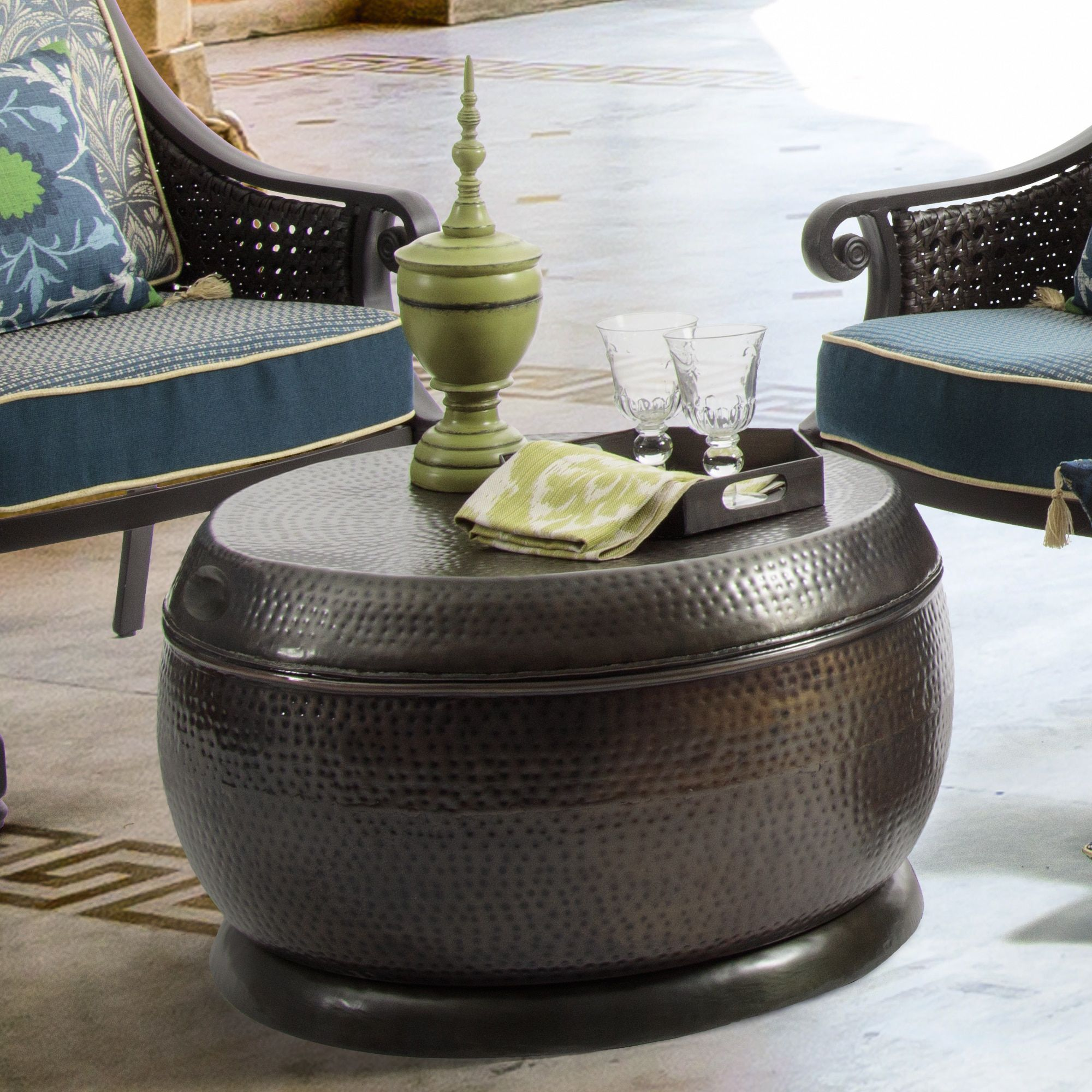 bombay outdoors madras hammered bronze drum coffee table outdoor accent brown patio furniture steel small width console square tablecloths tripod lamp rectangle trestle dining