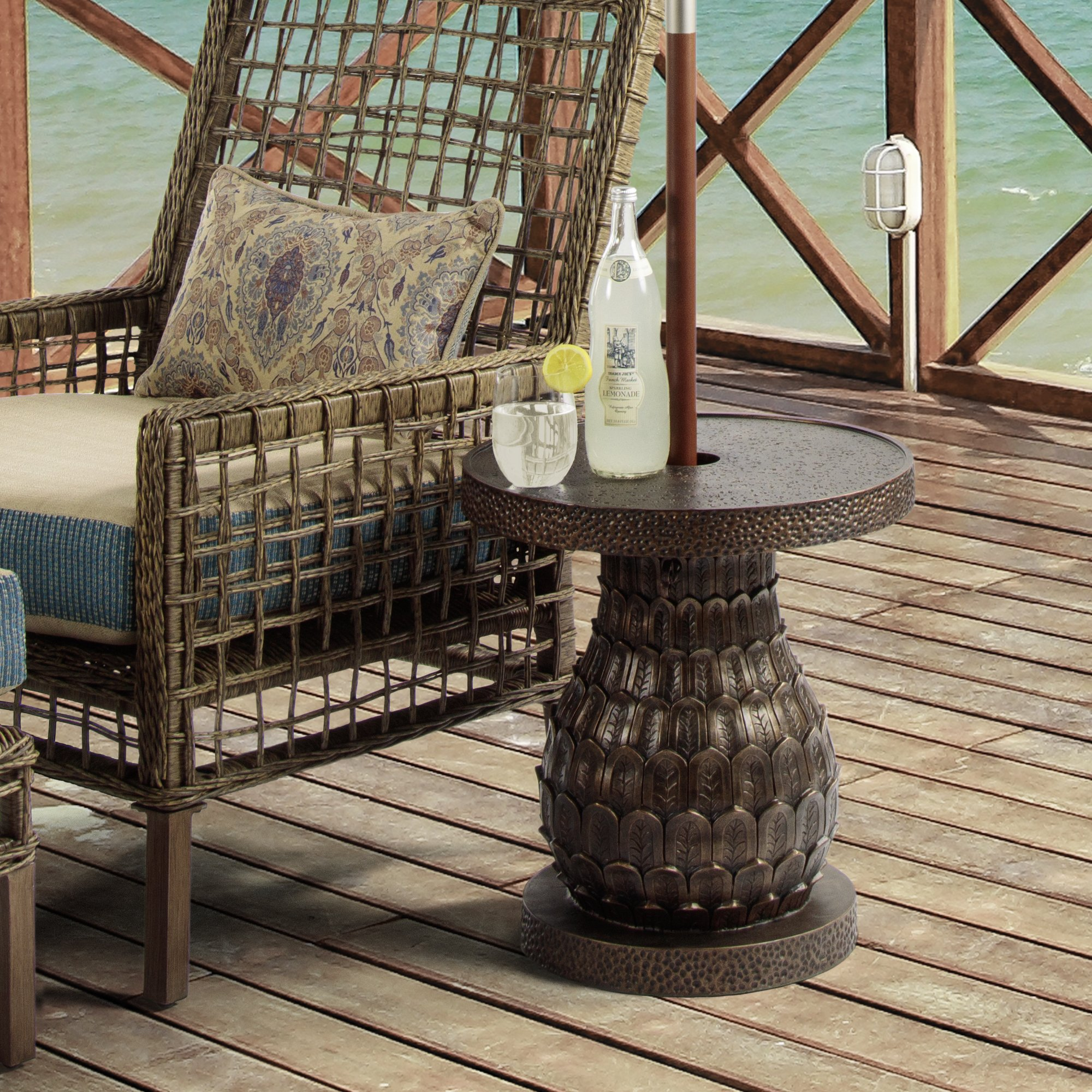 bombay outdoors pineapple umbrella accent table free shipping today cast aluminum outdoor furniture matching coffee and lamp tables wyatt corner display cabinet kidney shaped