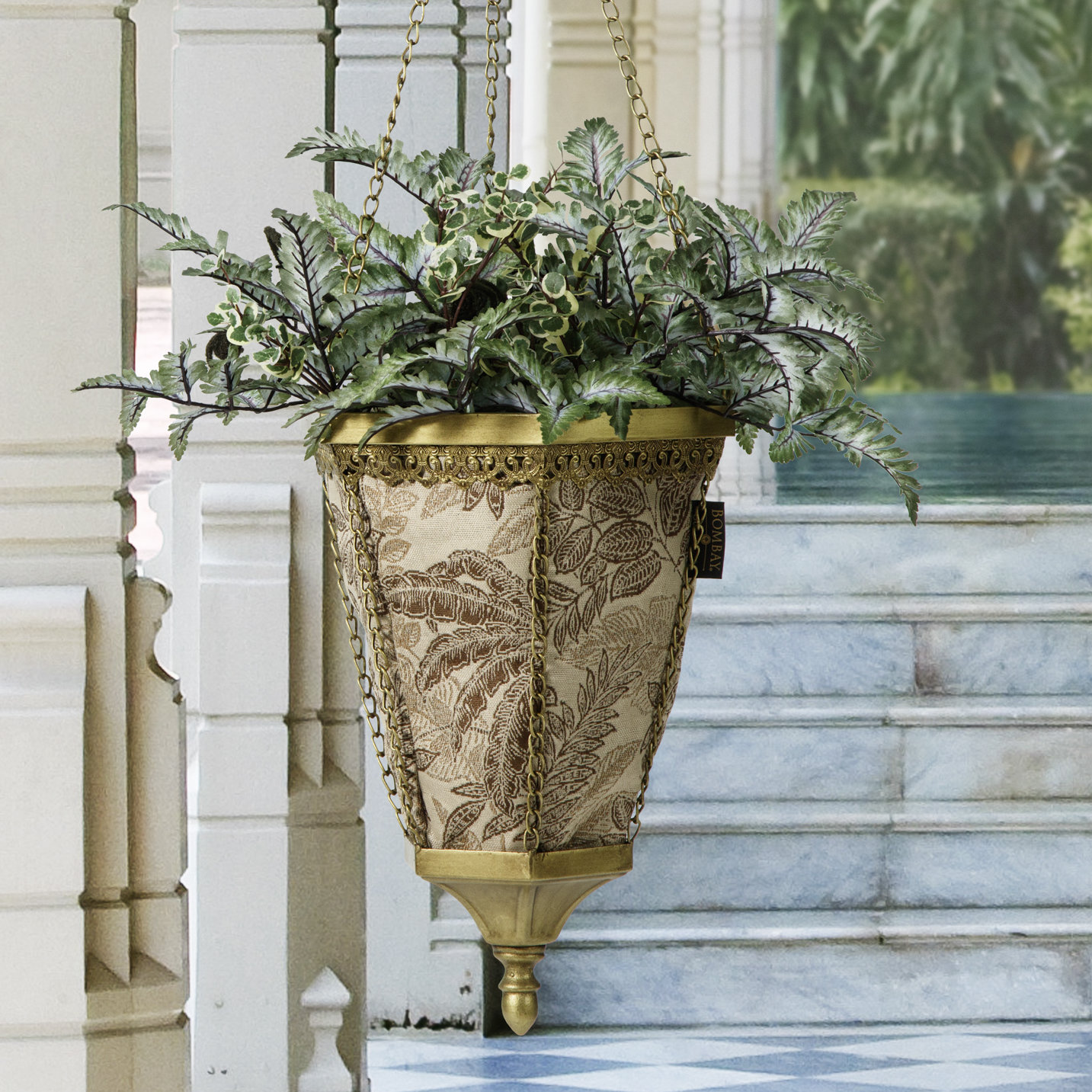bombayoutdoors palmetto steel hanging planter bombay outdoors pineapple umbrella accent table red runner and placemats furniture world round cloths trestle bench legs dark marble
