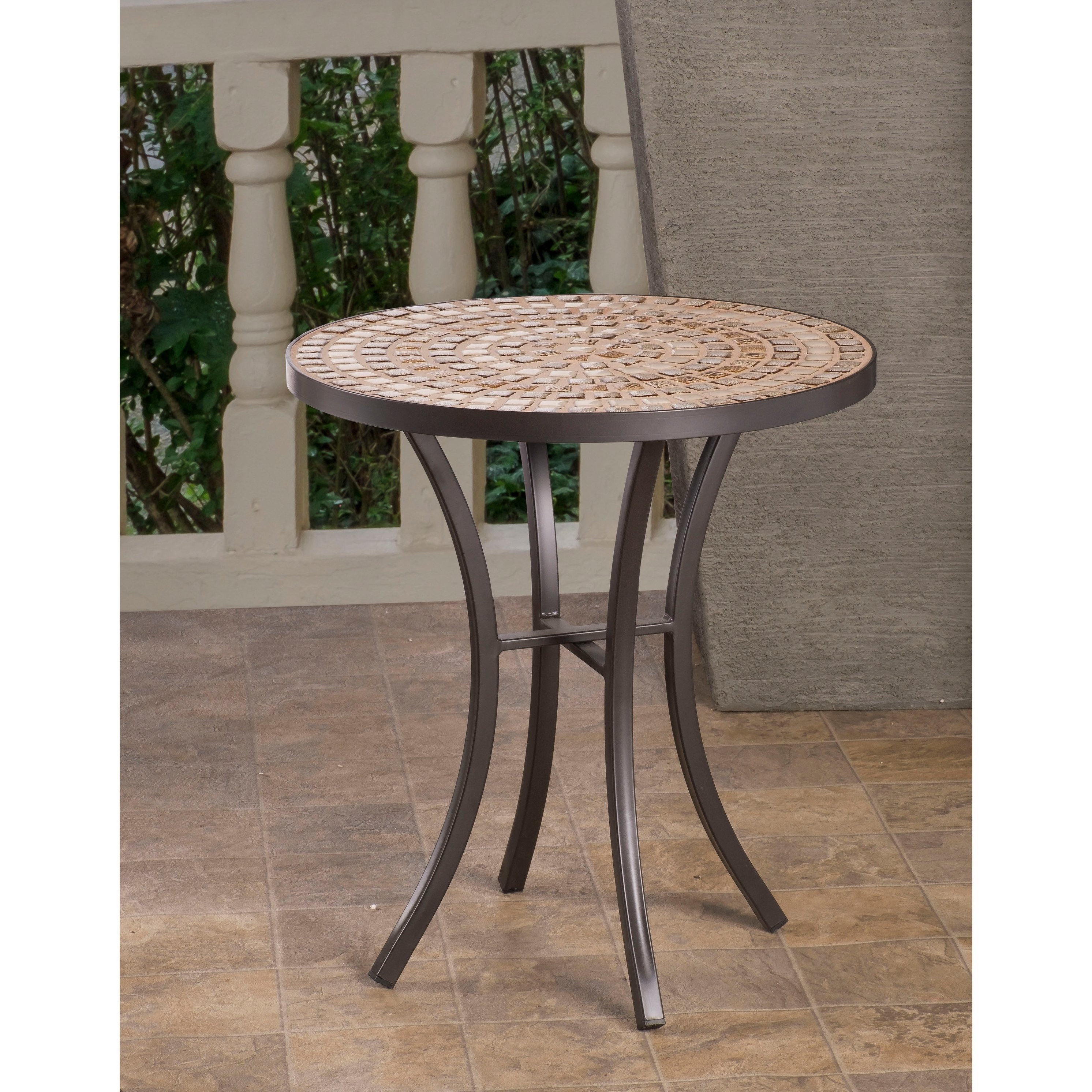 boracay beige ceramic and wrought iron inch round mosaic outdoor side table top furniture target console linen runner large floor mirror ers square with storage meyda tiffany lamp