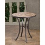 boracay beige ceramic and wrought iron inch round mosaic outdoor side table with tile top base accent free shipping today dining room sets lucite coffee white runner west elm best 150x150
