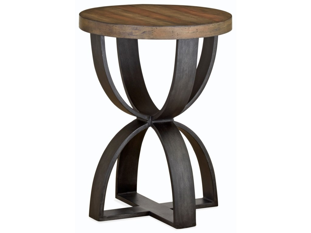 bowden rustic round accent table solid wood magnussen home value city furniture products color metal white end with drawer little drawers winsome timmy ikea lack coffee antique