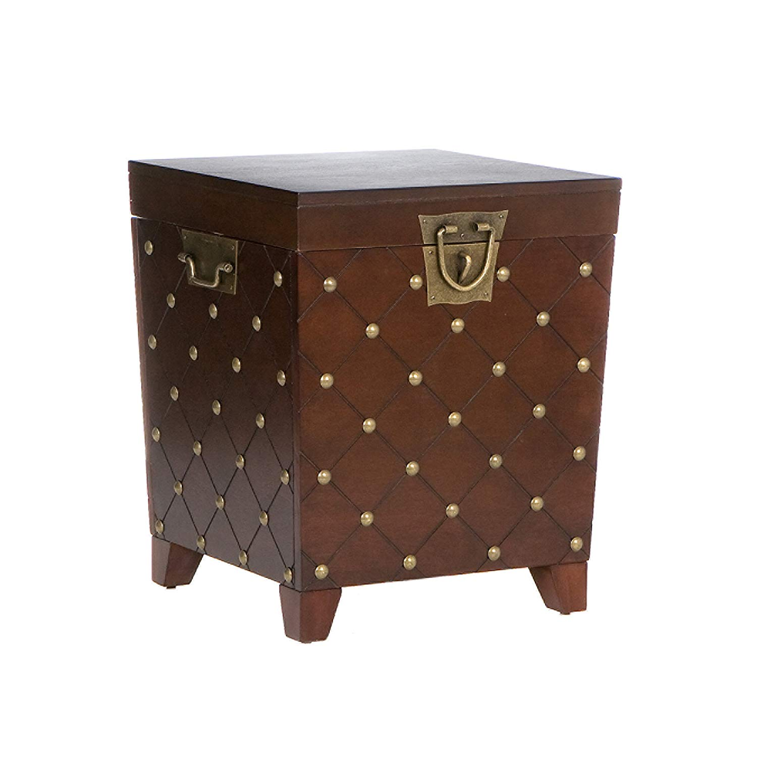 bowery hill nailhead trunk end table espresso accent kitchen dining metal frame coffee with wood top door chest entry wall bunnings swing chair contemporary home decor counter