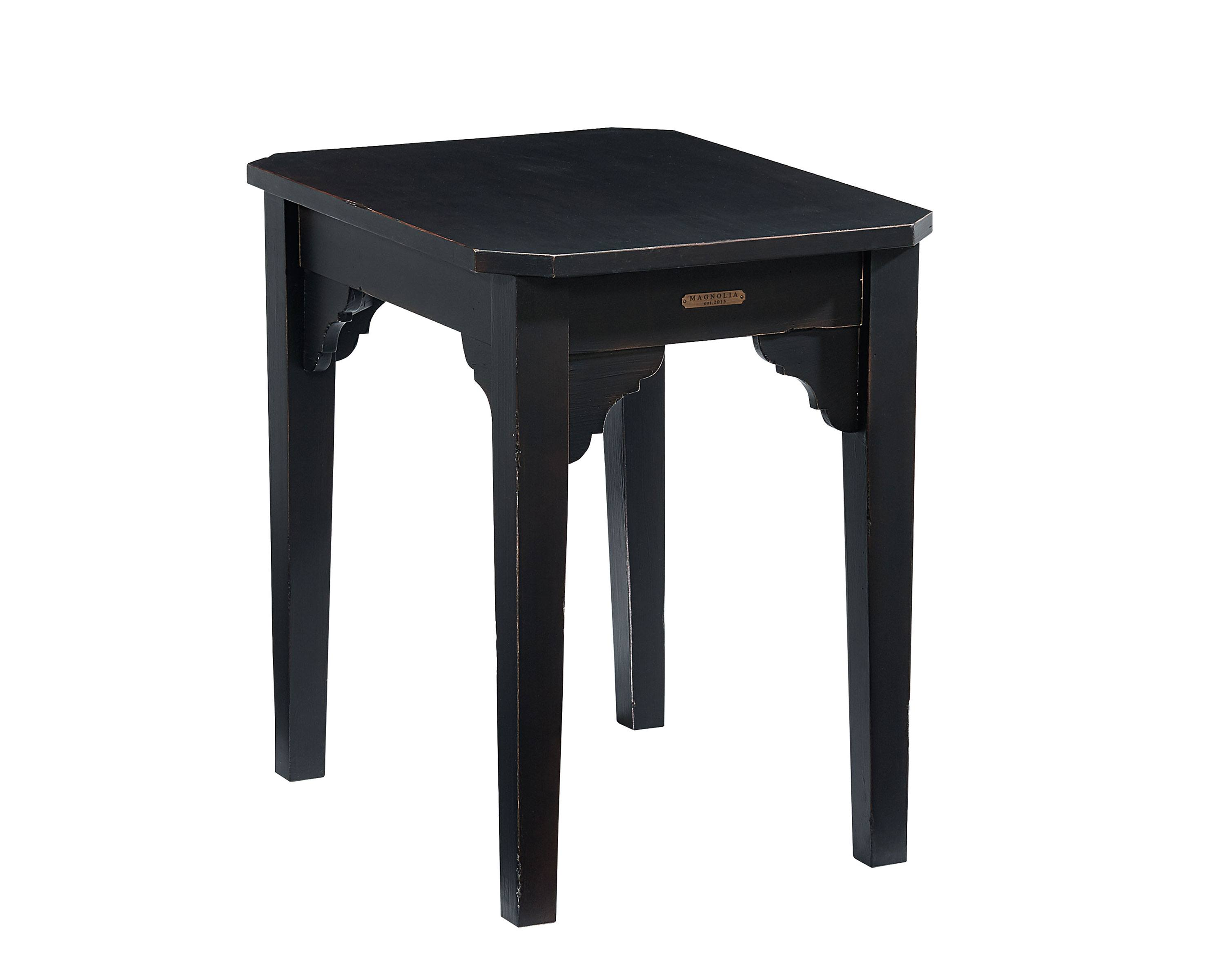 bracket end table magnolia home accent farmhouse our will old fashioned charm anywhere you put with its cut out corner brackets clipped top corners and casual black teen desk