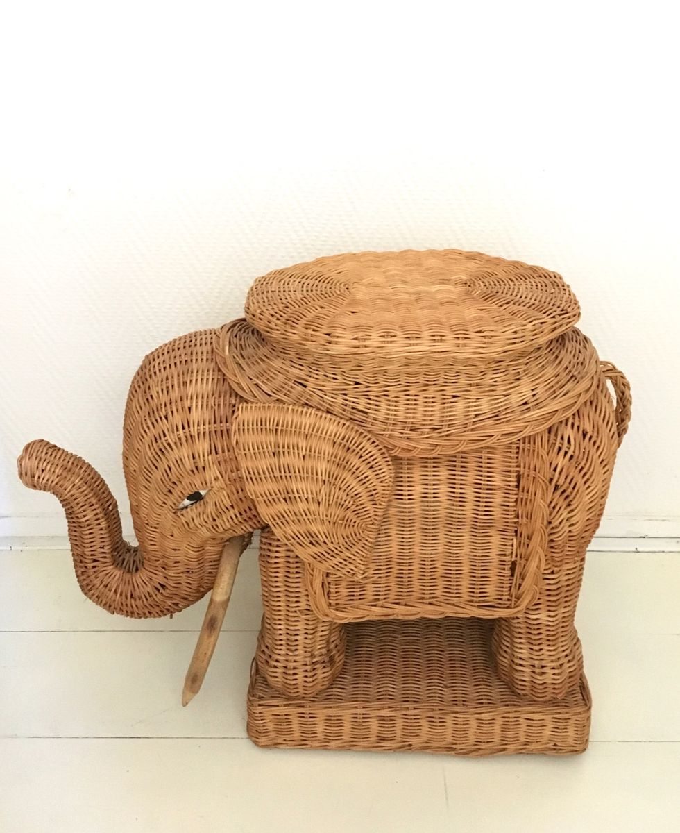 braided wicker elephant side table for pamono accent per piece round kitchen sets nautical flush mount light small marble inch wide console vintage ese lamps cordless battery