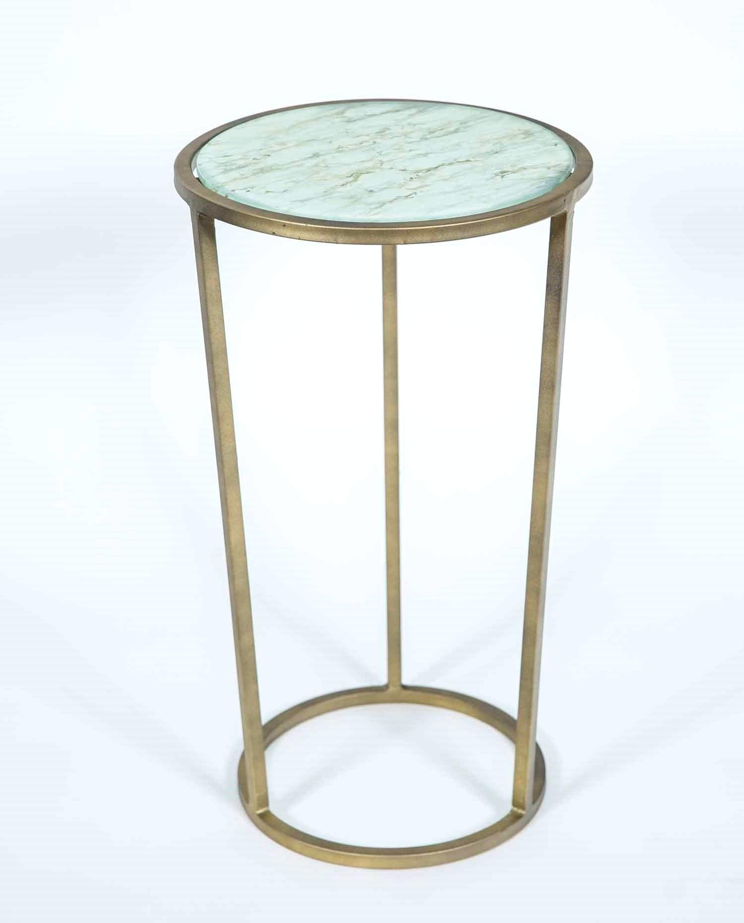 brass accent table luxuryhaircare antique with shelf wrinkled linen finish discoveries wooden patio chairs outdoor side ice bucket white decorative storage cabinet trunk end