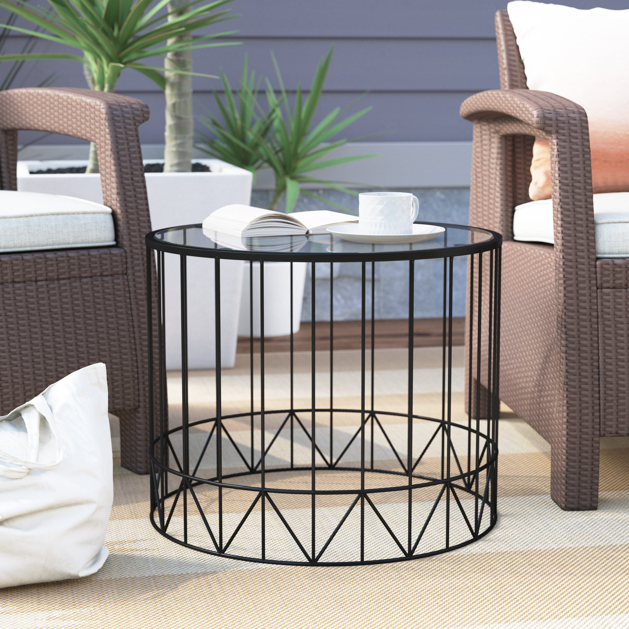 brayden studio pittard home garden patio accent metal piece coffee table set reviews wrought iron twin hand painted cabinets furniture mosaic bistro outdoor loveseat farm style