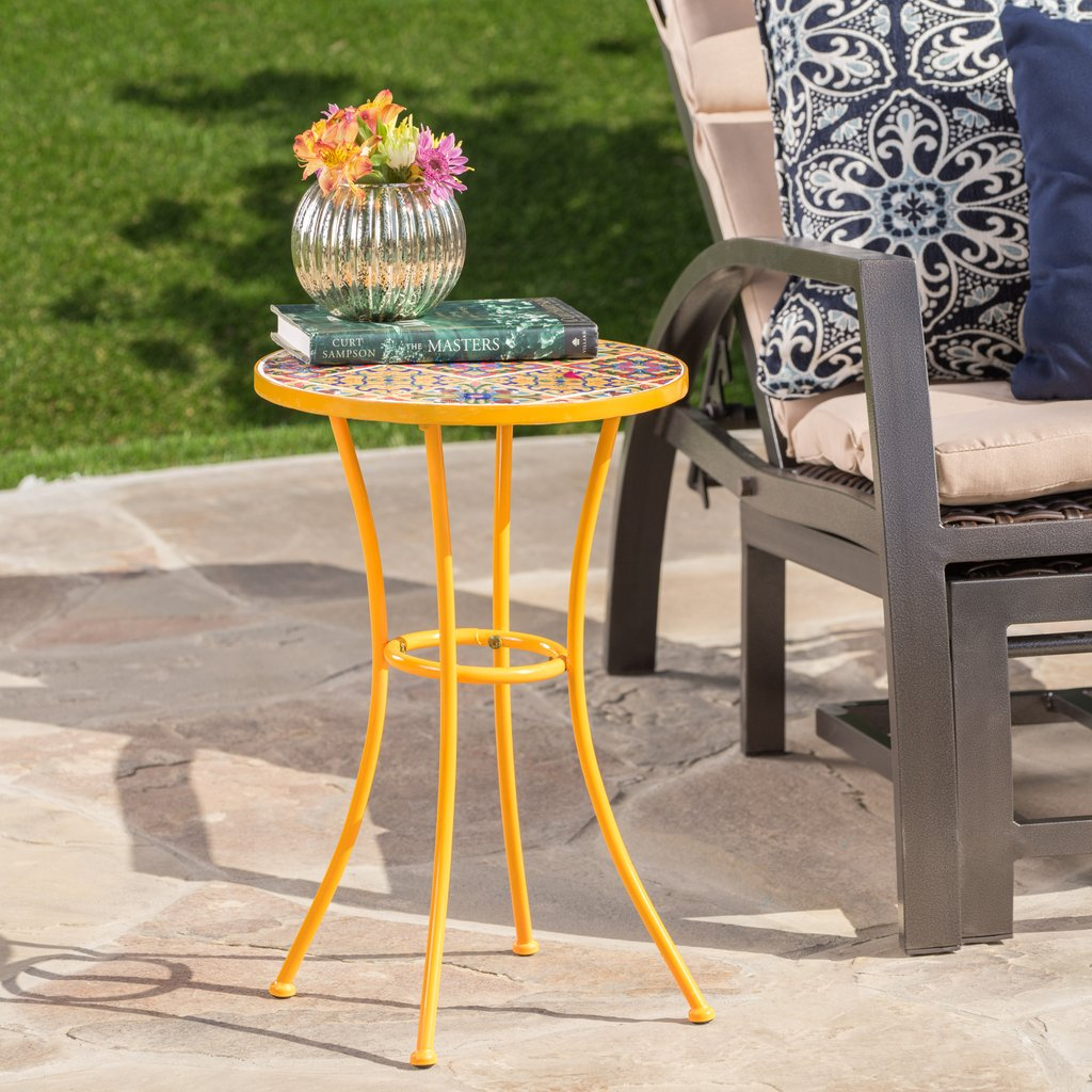 brienne outdoor yellow ceramic tile side table with iron frame gdf accent studio ikea lamp shades rattan sauder harbor view diy rustic coffee snack porch furniture cherry wood