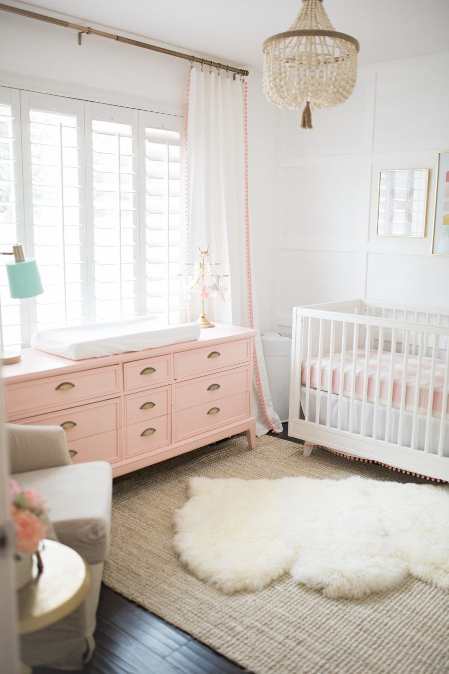 bright white pastel baby girl nursery reveal spaces accent table blush pink and gold mint extra long runners threshold cabinet cherry dining room furniture bobkona wicker storage