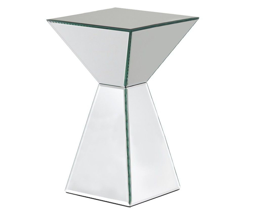 bring some futuristic style your space with the mirrored pyramid accent table living room side espresso end storage garden white bedside drawers ethan allen threshold round coffee