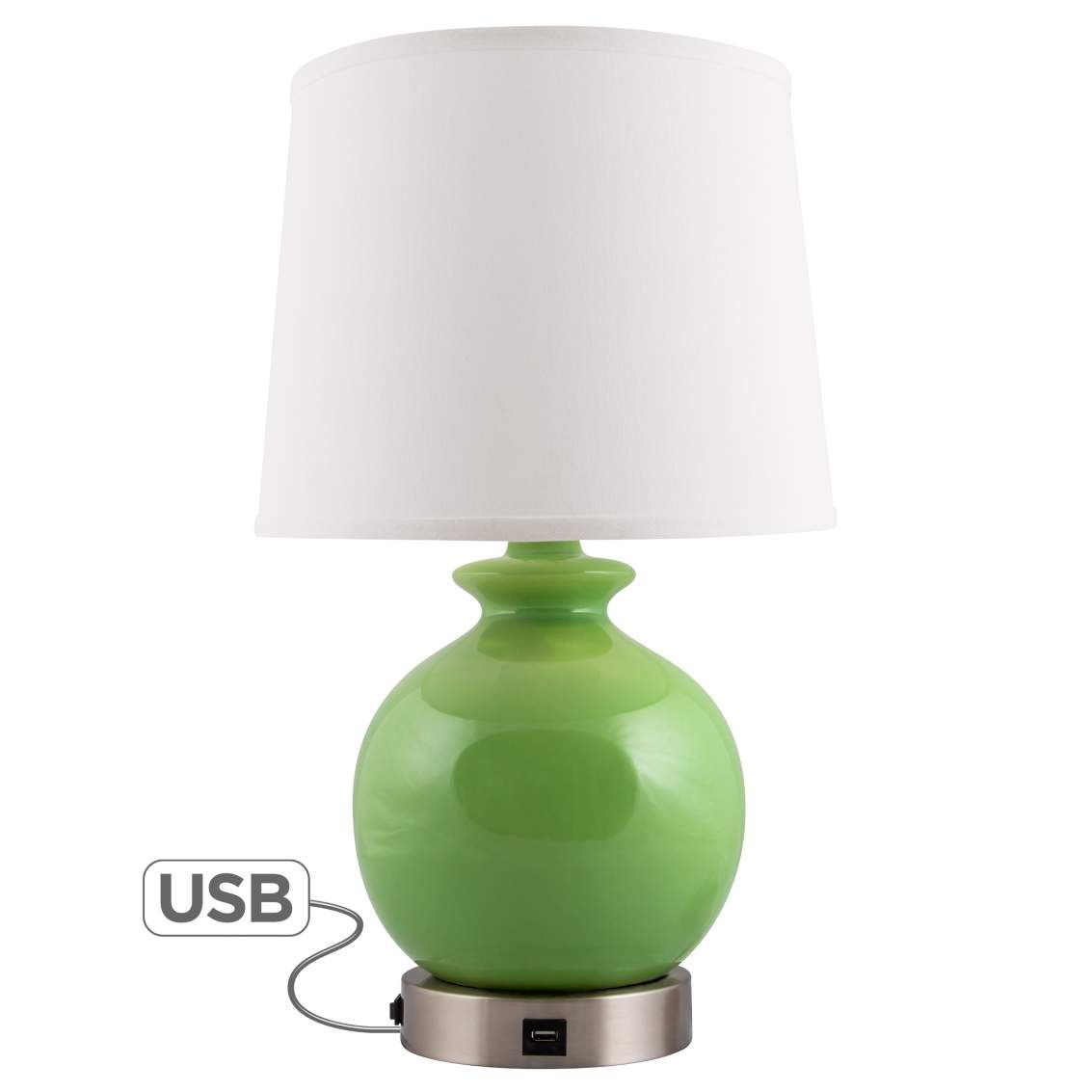 bristol clover green accent table lamp usb port nightand heyburn brushed steel with lamps plus rope coffee mid century outdoor furniture reproduction pier one tures target