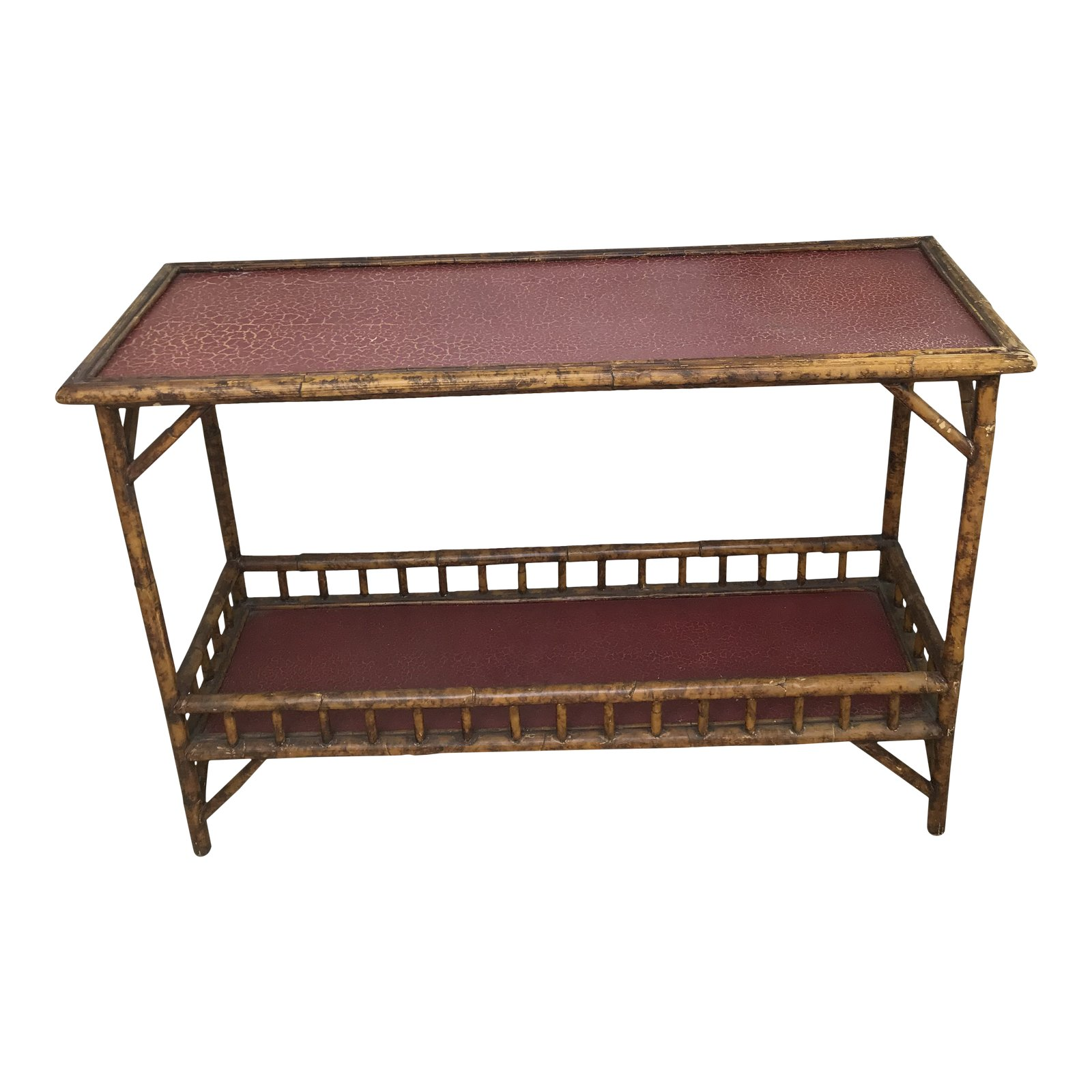 british colonial faux bamboo console accent table chairish wood stanley furniture bunnings swing set tall thin coffee contemporary end tables modern outdoor foyer chest unusual