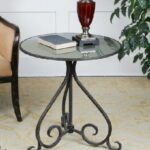 bronze curved forged iron with antique mirrored top round accent table corner desk modern writing drum throne for tall drummers gold legs coffee wrought queen christmas tablecloth 150x150