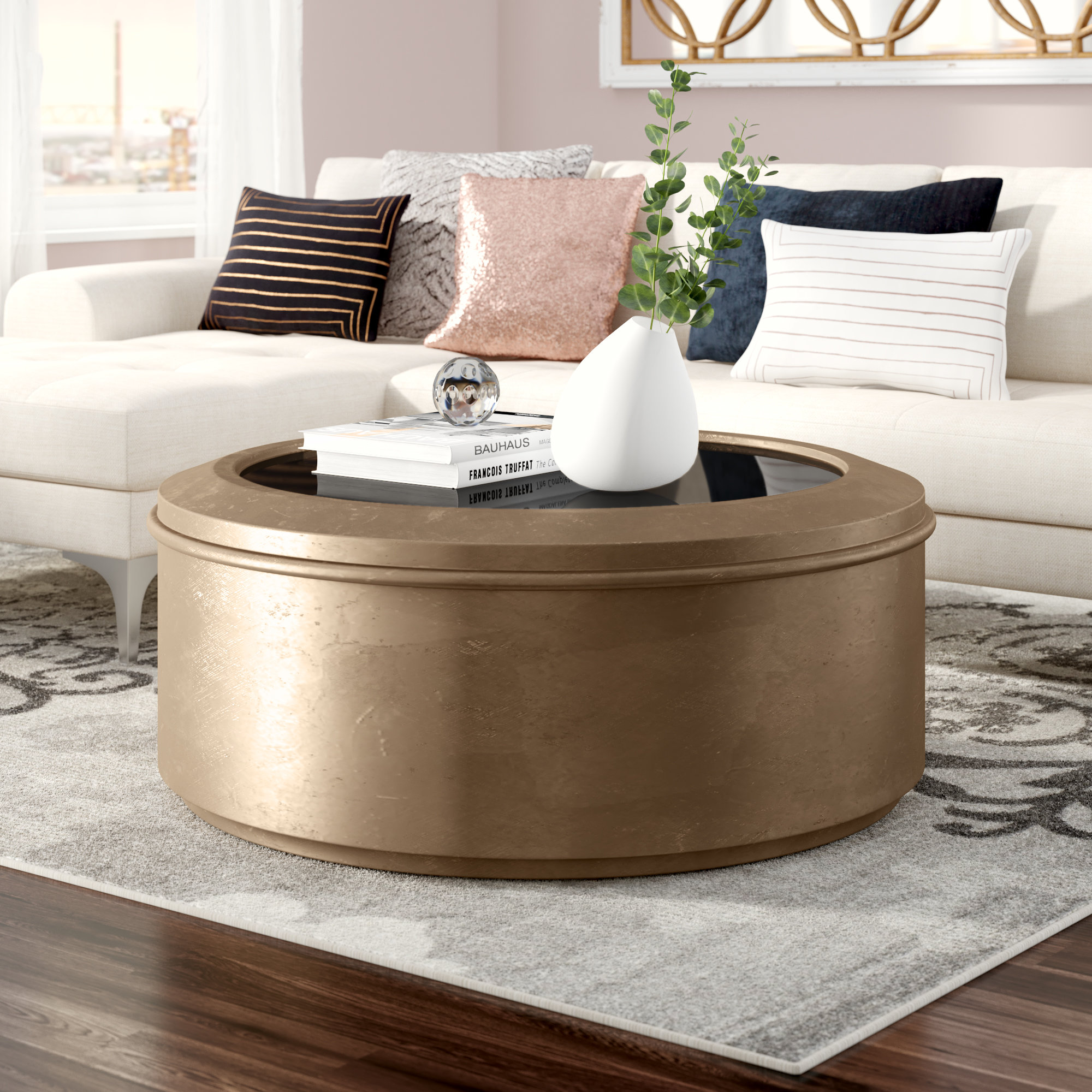 bronze drum table rodger coffee industrial chic accent living room console cabinets metal top side chestnut furniture triangle ikea vintage asian lamps look tables frame bedside