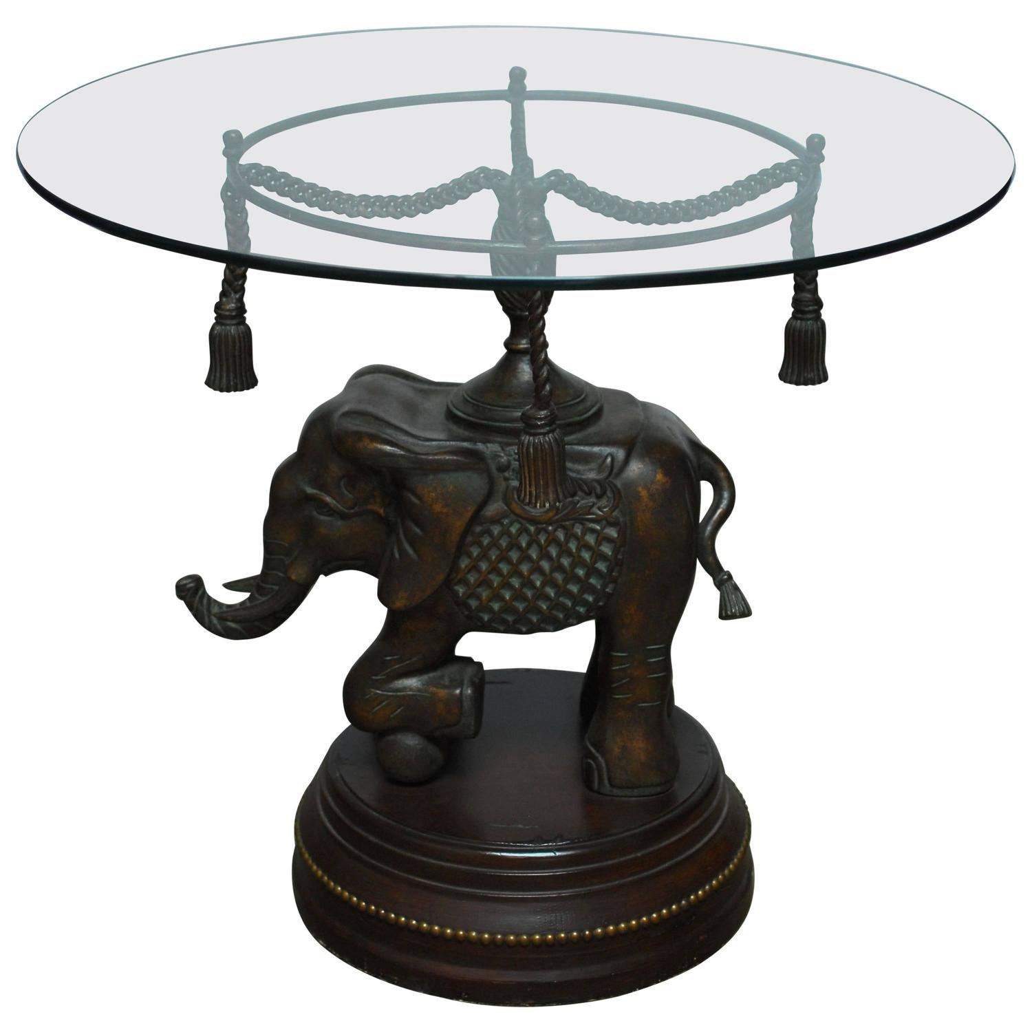 bronze elephant pedestal side table for narrow accent base hand painted wood retro lamp cast aluminium garden furniture wine rack kenroy home barn dining lawn chair with umbrella