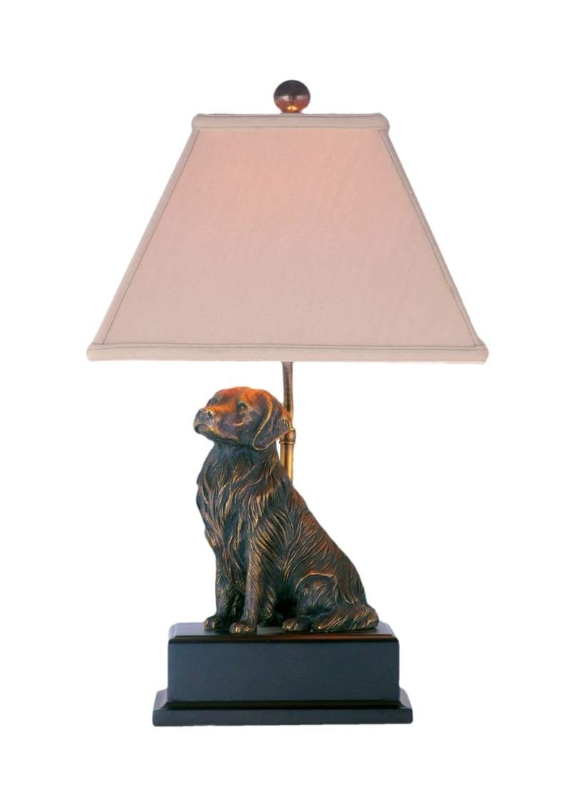 bronze golden retriever table lamp oriental shade accent lamps lighting style special east enterprises orientallampshade light fixture accessory pink patio umbrella gold console