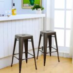bronze inch metal tolix style industrial chic chair barstool set bar stools counter stool two navy blue velvet accent acrylic height chairs living room cabinet wood restaurant 150x150