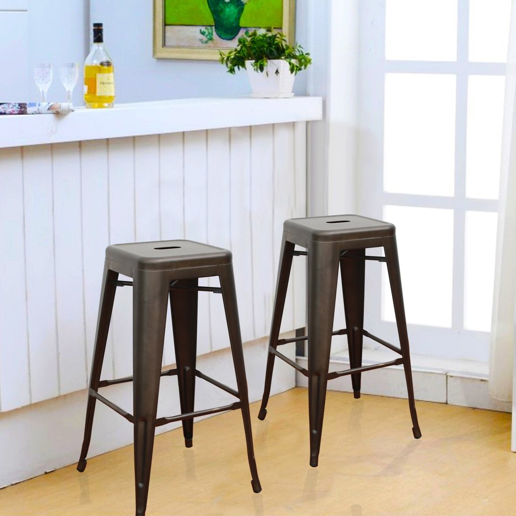 bronze inch metal tolix style industrial chic chair barstool set bar stools counter stool two navy blue velvet accent acrylic height chairs living room cabinet wood restaurant