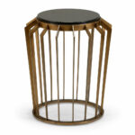 bronze side table dandelion spell accent iron with finish and natural black marble top coffee drawers ikea modern outdoor retro wooden chairs wood set round cover percussion stool 150x150