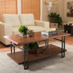 brown coffee table accent tables living room furniture the baxton studio for adalard and antique bronze patio couch rattan mats gold with marble top oak bedside kirkland black 150x150