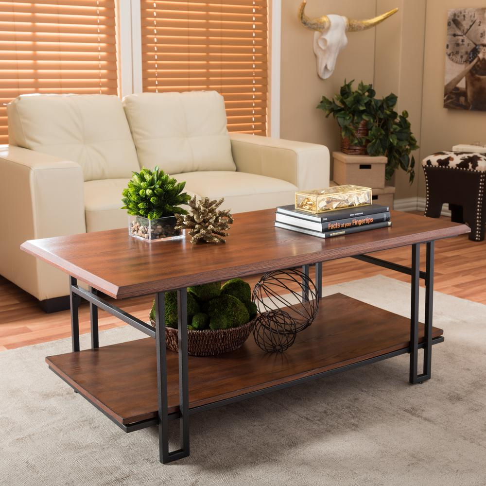 brown coffee table accent tables living room furniture the baxton studio for adalard and antique bronze patio couch rattan mats gold with marble top oak bedside kirkland black
