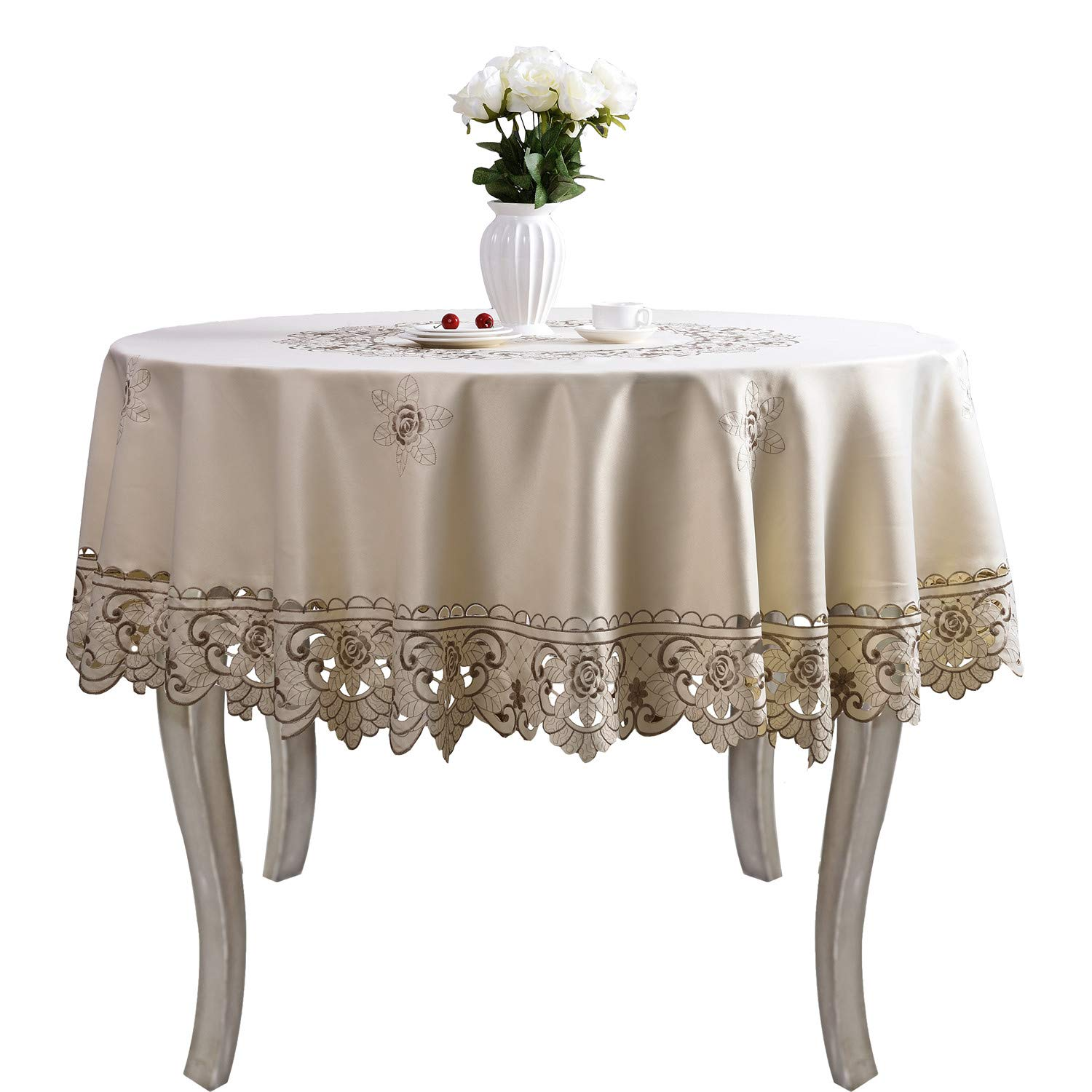 brown flower embroidered lace dark white cream round accent tablecloth tablecloths for tables multi home kitchen west elm outdoor furniture ikea living room very narrow end table