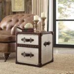 brown genuine leather accent chair end table set acme furniture chairs with durham reviews wooden lamps for living room teak driftwood coffee bedside and lamp dark wood console 150x150