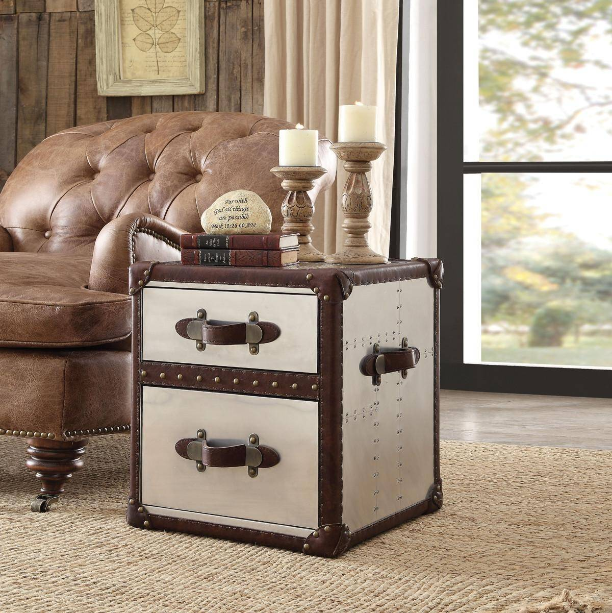 brown genuine leather accent chair end table set acme furniture chairs with durham reviews wooden lamps for living room teak driftwood coffee bedside and lamp dark wood console