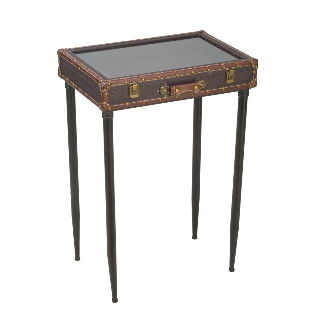 brown glass top suitcase accent table the end tables stained shabby chic shelves west elm square dining kidney bean coffee retro dressers furniture dark wood and pallet plans