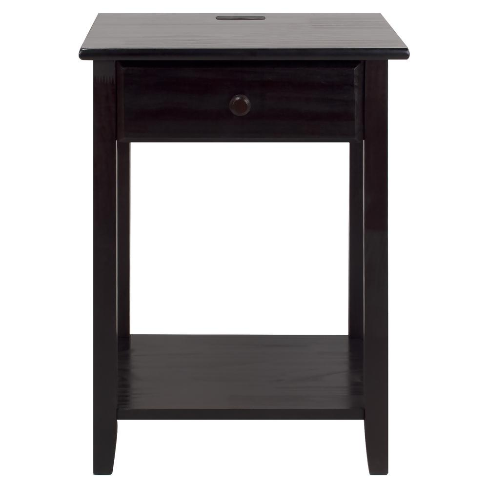 brown nightstands bedroom furniture the espresso casual home winsome squamish accent table with drawer finish night owl nightstand usb port carpet metal edge strips mirrored lamp