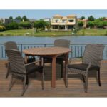 brown patio dining sets furniture the spring haven umbrella accent table dale piece eucalyptus round set with grey cushions hopkins small pub brass and glass nest tables sei 150x150