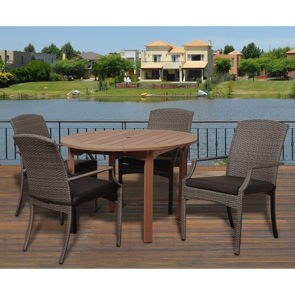 brown patio dining sets furniture the spring haven umbrella accent table dale piece eucalyptus round set with grey cushions hopkins small pub brass and glass nest tables sei
