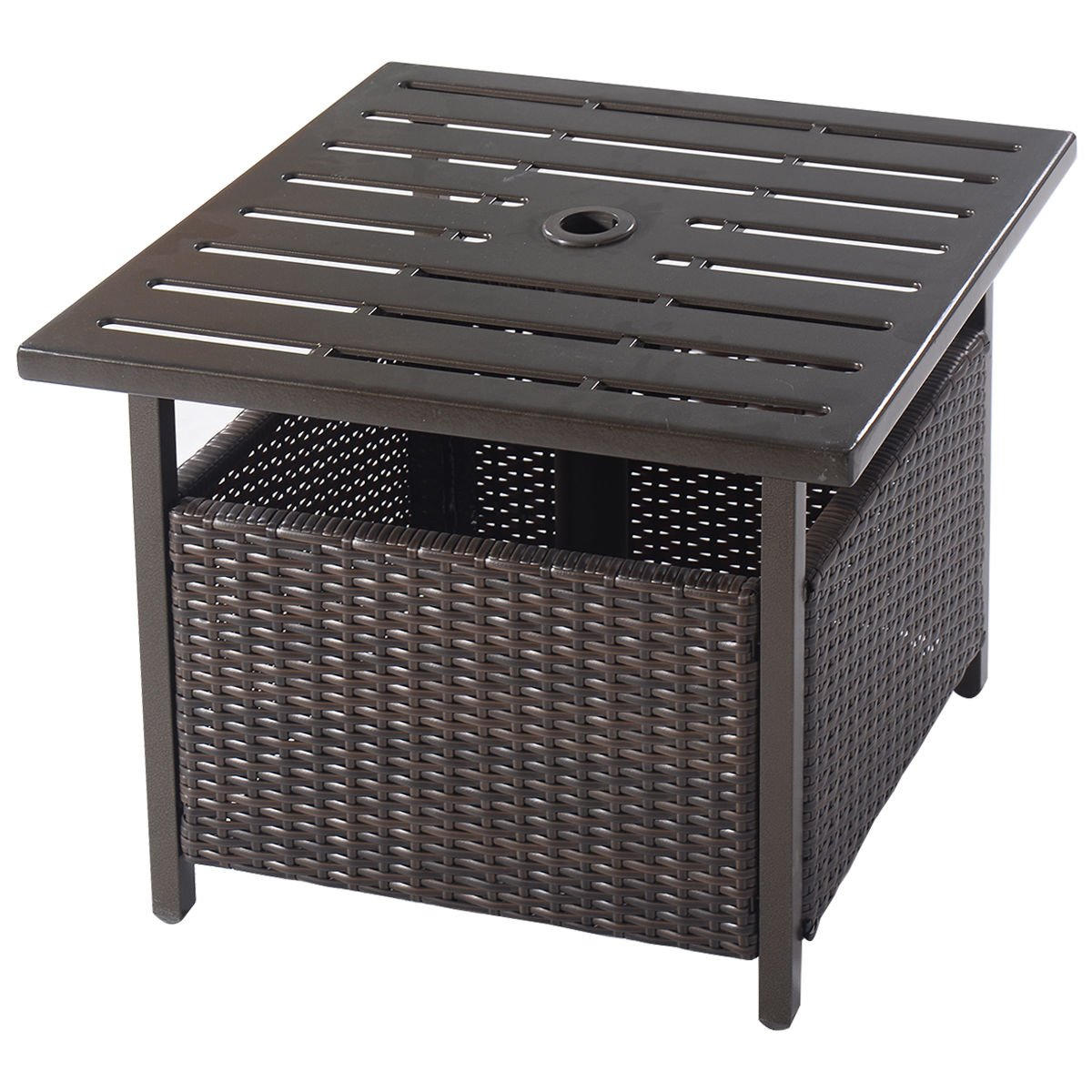 brown rattan wicker steel side table outdoor furniture umbrella hole deck garden patio pool ashley and chairs small accent lights antique two tier weatherproof west elm espresso
