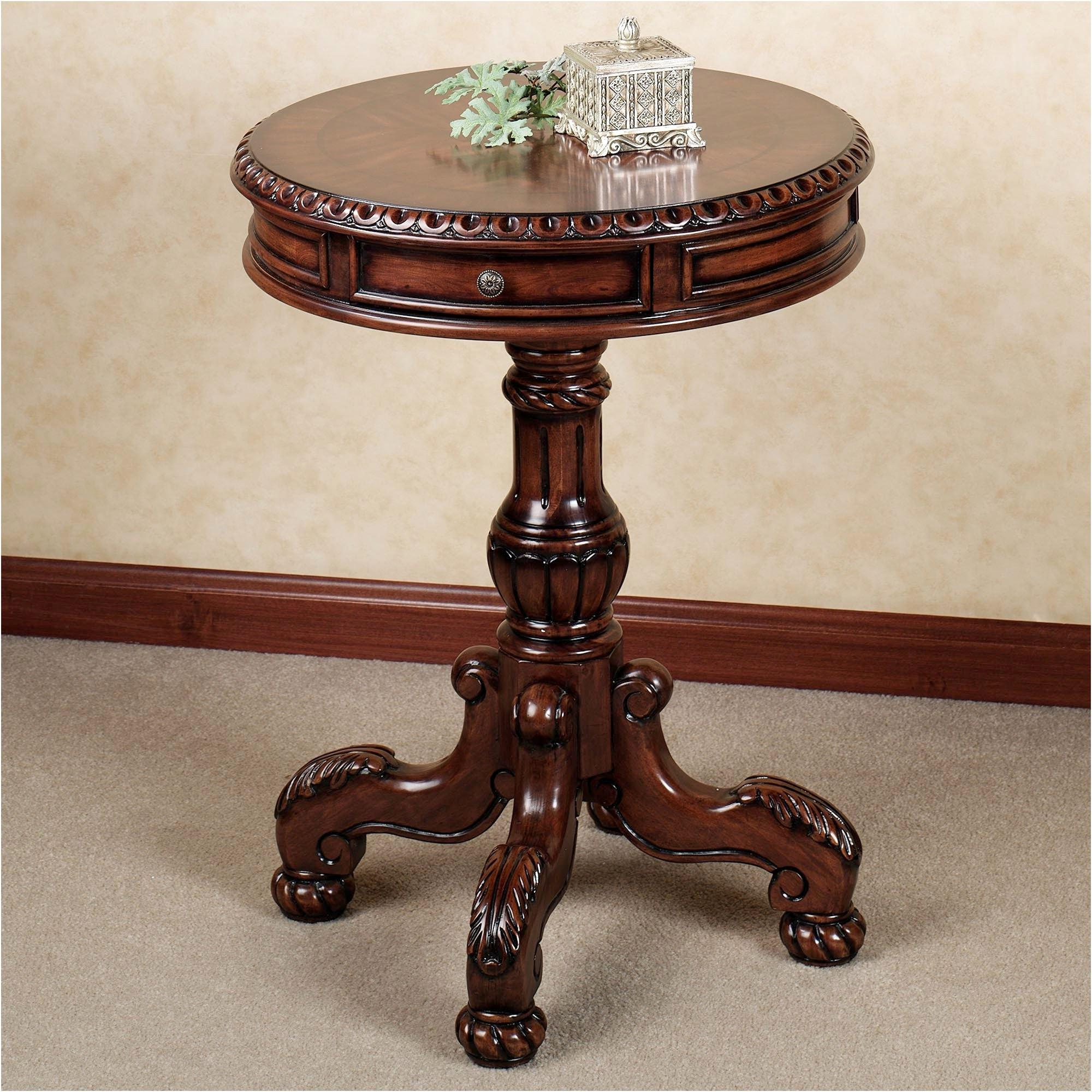 brown round accent table discover dartmoor design best antique back exquisite metal chairside nesting set tables ashley bedroom furniture butler desk gold console pulaski reviews