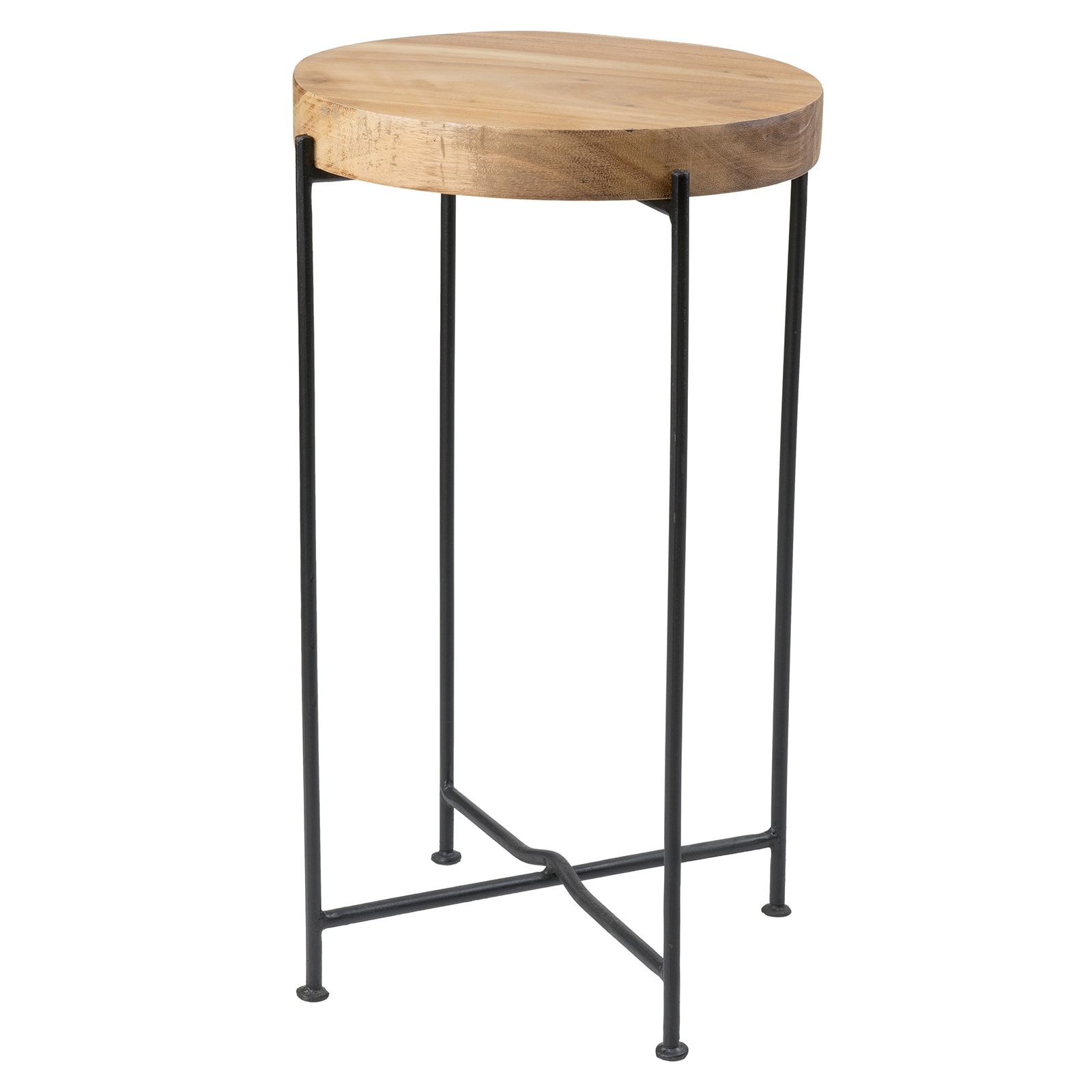 brown round teakwood accent table end side nightstand living room east mains rico transitional teak wood details black bedside contemporary trestle dining high top bar and chairs