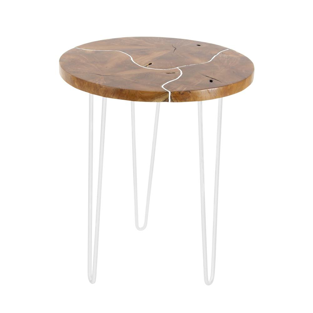 brown teak wood and silver iron round accent table the home end tables hand painted drawers outdoor furniture patio side tablecloth mackenzie mirrored west elm track order cute